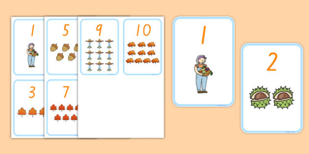Autumn Themed Number Flashcards - nz, new zealand, autumn, number, flashcards