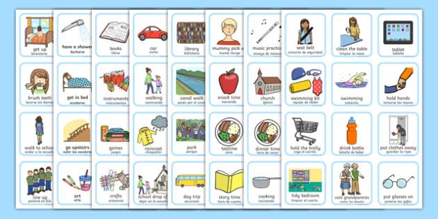 Daily Routine Visual Timetable for Girls Spanish Translation--translation