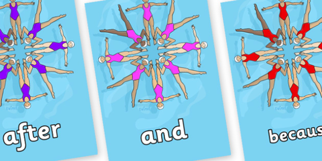 Connectives on Synchronised Swimmers - Connectives, VCOP, connective resources, connectives display words, connective displays