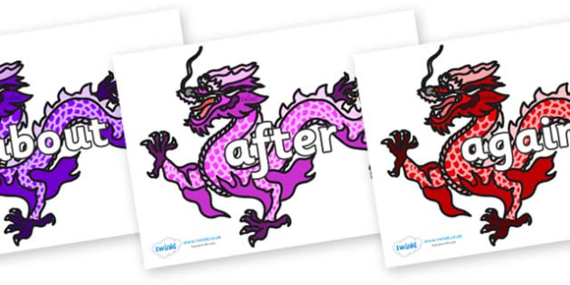 KS1 Keywords on Chinese Dragons (Multicolour) - KS1, CLL, Communication language and literacy, Display, Key words, high frequency words, foundation stage literacy, DfES Letters and Sounds, Letters and Sounds, spelling