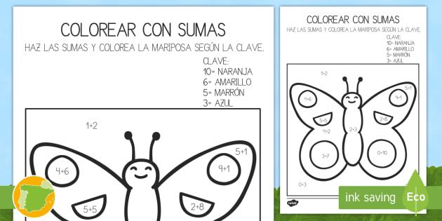 Colroear Con Números Sumas Hasta 10 Bichos Mariposa