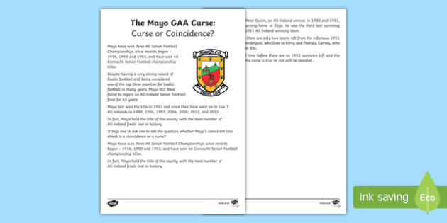 The Mayo GAA Curse: Curse or Coincidence? Fact File-Irish