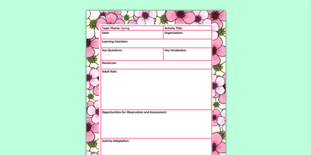 Spring Themed Adult Led Focus Planning Template - seasons, plans