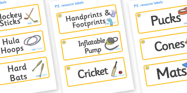 Sunshine Themed Editable PE Resource Labels - Themed PE label, PE equipment, PE, physical education, PE cupboard, PE, physical development, quoits, cones, bats, balls, Resource Label, Editable Labels, KS1 Labels, Foundation Labels, Foundation Stage L