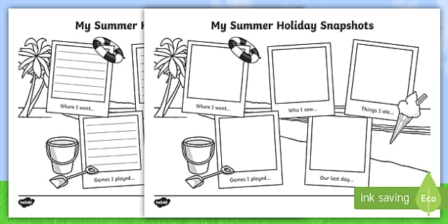Summer Holiday Snapshots Writing Frames - End of Year/Back to
