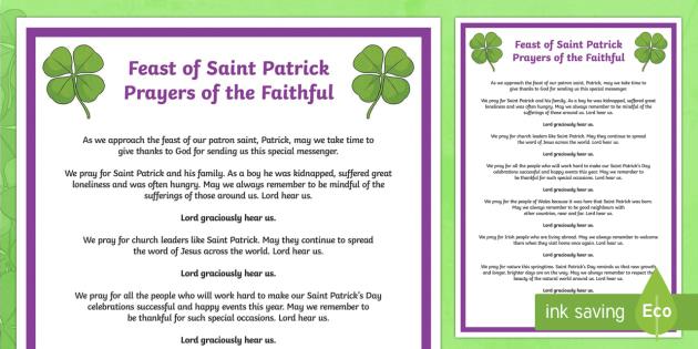 Feast of Saint Patrick Prayers of the Faithful Print-Out
