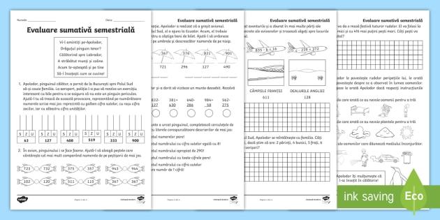 Clasa A II A Matematic Evaluare Sumativ Semestrial