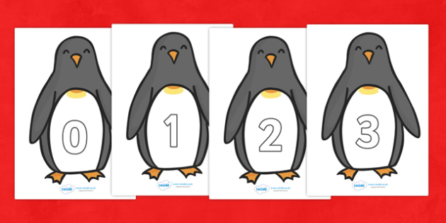 Penguin Themed Numbers 0-30 - 0-30, penguin, winter, numbers