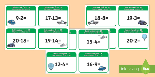 Subtraction From 20 Cards English/Polish - subtraction, cards, 20, from 20, substraction, suntraction, subtrction, sutraction, subrtaction,EAL,
