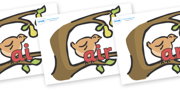 Phase 3 Phonemes on Partridge in a Pear Tree - Phonemes, phoneme, Phase 3, Phase three, Foundation, Literacy, Letters and Sounds, DfES, display