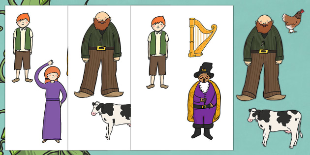 image relating to Jack and the Beanstalk Printable called Jack and the Beanstalk Printable Figures - adhere puppets