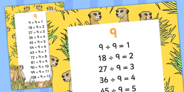 9 Times Table Division Facts Display poster - posters, displays
