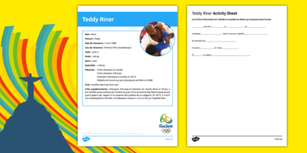 French Olympic Athletes Teddy Riner Gap Fill Activity Sheet-French, worksheet