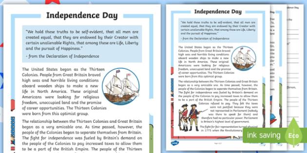 Independence Day Worksheet Reading Passage and Comprehension – Declaration of Independence Worksheet