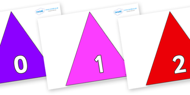 Numbers 0-50 on Triangles - 0-50, foundation stage numeracy, Number recognition, Number flashcards, counting, number frieze, Display numbers, number posters