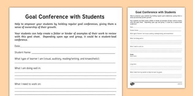 Goal Conference Activity Sheet, worksheet