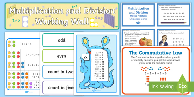 KS1 Multiplication and Division Working Wall Display Pack - classroom display, maths display, maths mastery, challenge cards, mathematical vocabulary, maths voc