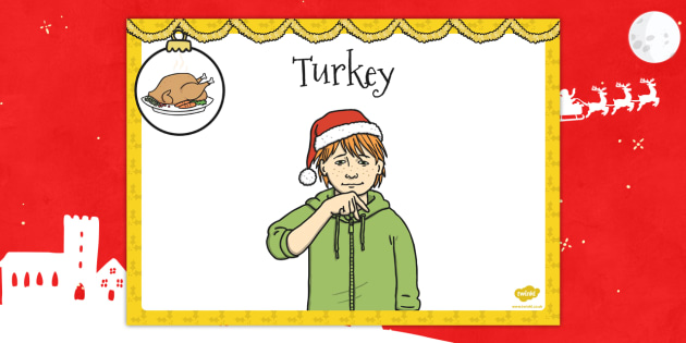 A4 British Sign Language Sign for Turkey - sign language, turkey