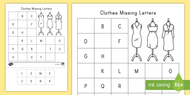 Clothes Missing Letters Cut And Paste Activity