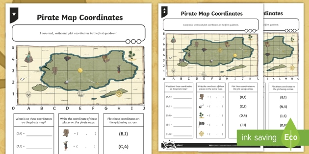 ks2 pirate maths map coordinates differentiated worksheet worksheets. Black Bedroom Furniture Sets. Home Design Ideas