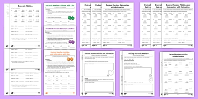 decimal number addition and subtraction worksheet  worksheet  decimal number addition and subtraction worksheet  worksheet resource pack   acmna year  maths