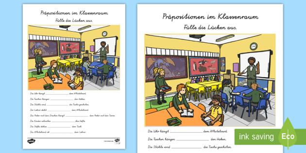 Präpositionen im Klassenraum Lücken ausfüllen Arbeitsblatt