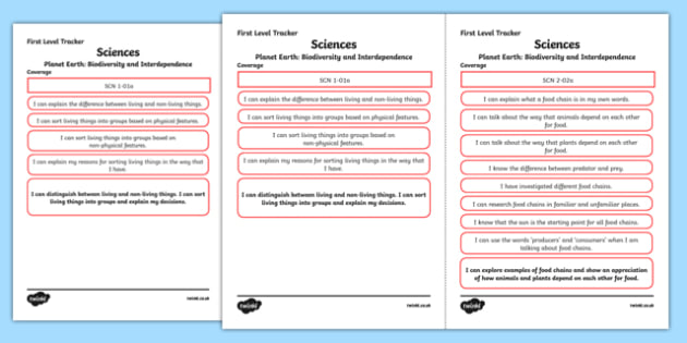 CfE Sciences (Planet Earth) First Level Child Friendly Tracking
