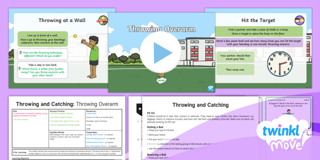 Twinkl Move - Year 1 Throwing and Catching: Lesson 5 - Throwing Overarm - Move, ames Throwing and Catching, pe, physical education, games, sports, ks1, year 1, y1, ppt, power