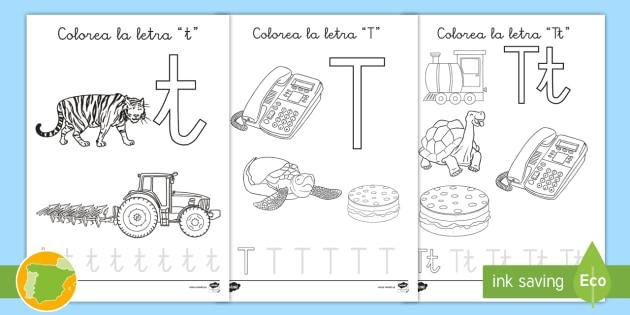 Hoja De Colorear La Letra T Palabras Vocabulario