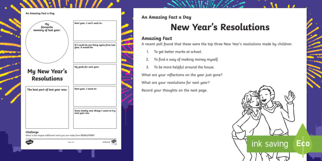 graphic regarding New Year's Worksheets Printable known as Clean Several years Resolutions Worksheet / Worksheet - Remarkable Truth of the matter