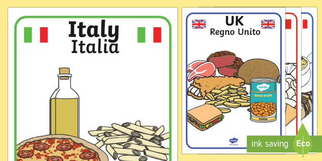 Foods Around The World Display Posters English Italian