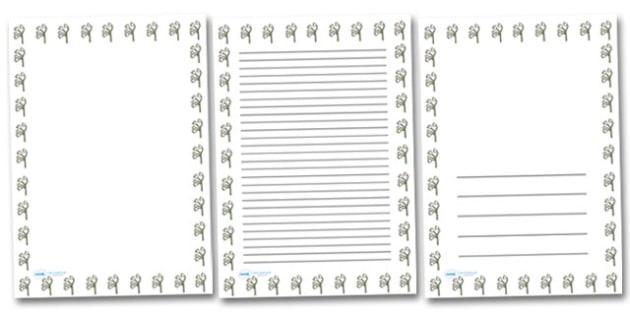 Lily Portrait Page Borders- Portrait Page Borders - Page border, border, writing template, writing aid, writing frame, a4 border, template, templates, landscape