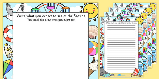 Seaside Trip Themed Writing Frames - seaside trip, writing frames