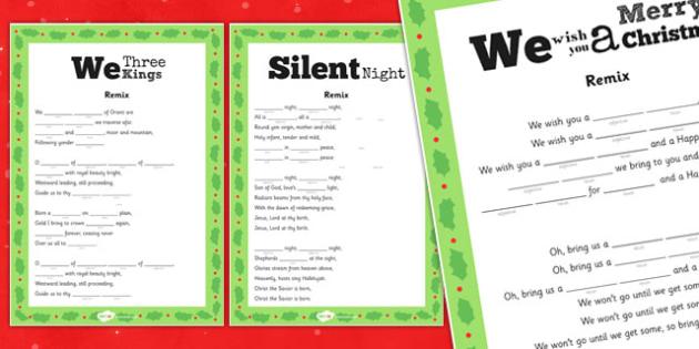 Christmas Carol Remix Activity Sheet Pack - christmas, carols, sheets, worksheet