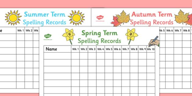 Termly Class Spelling Record Wall Charts - termly class spelling record, wall charts, charts, wall, class spelling, spelling, spelling record, class record, term, class, awards, reward