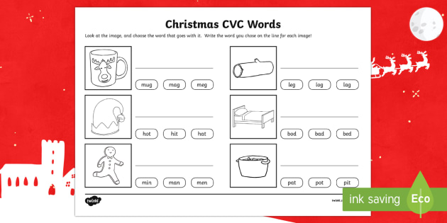 Christmas CVC Word Activity Sheet
