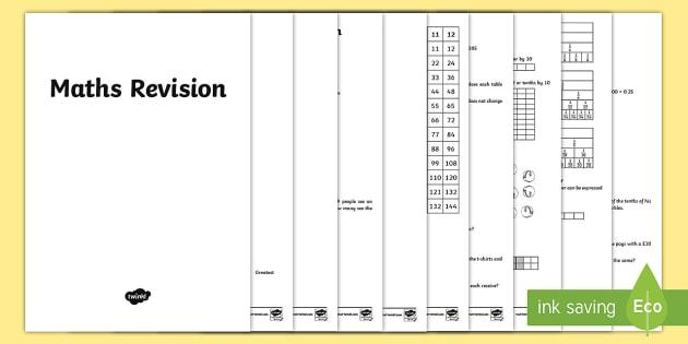 Year 4 Maths Revision Booklet - KS2, Maths, Year 3, revision