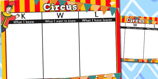 Circus Topic KWL Grid - KWL, Know, Want, Learn, Grid, Circus