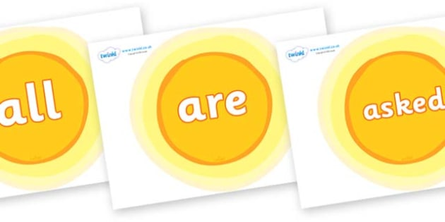 Tricky Words on Glowing Suns - Tricky words, DfES Letters and Sounds, Letters and sounds, display, words