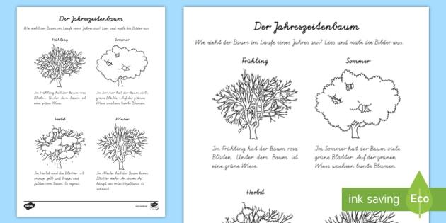 Der Jahreszeitenbaum Arbeitsblatt: Lesen und Malen - Baum