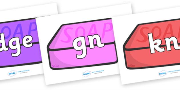 Silent Letters on Soap (Multicolour) - Silent Letters, silent letter, letter blend, consonant, consonants, digraph, trigraph, A-Z letters, literacy, alphabet, letters, alternative sounds