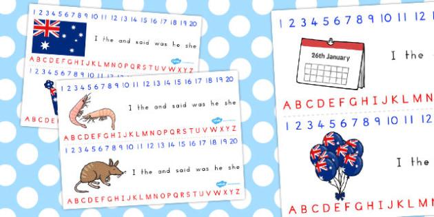 Australia Day Combined Number Alphabet Strips - australia, strips