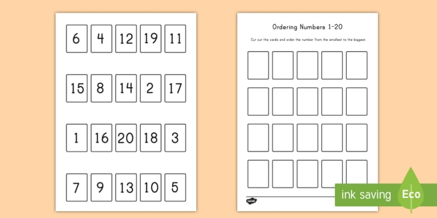 Ordering Numbers 1 - 20 Activity