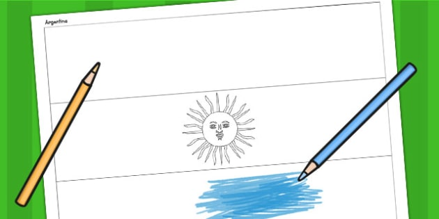 Argentina A4 Colouring Flag - geography, flag, country, colour in