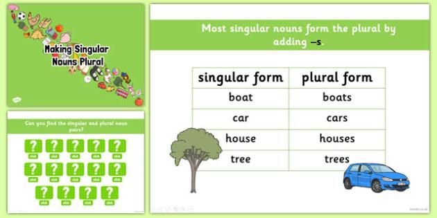 Making Singular Nouns Plural PowerPoint - nouns, plural, singular