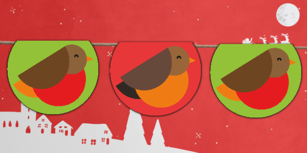 Cute Christmas Robin Bunting - cute, christmas, robin, bunting, display, display bunting, craft