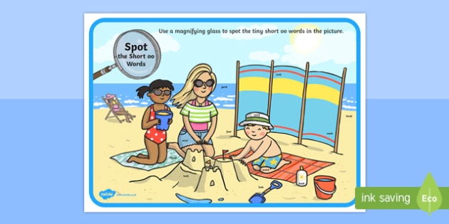 Phase 3 Short oo Words Beach Scene Magnifying Glass Activity Sheet, worksheet