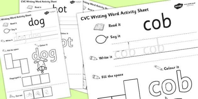 CVC Writing Word Activity Sheet Pack 'o' with British Sign Language, worksheet
