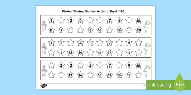Pirate Missing Number 1-20 Worksheet / Activity Sheet - Pirate