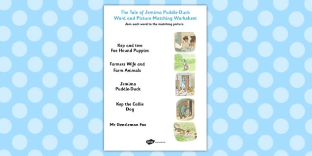 The Tale of Jemima Puddle-Duck Word and Picture Match - match